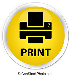 Print (printer icon) premium yellow round button