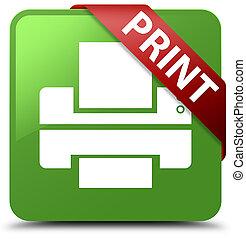 Print (printer icon) soft green square button red ribbon in corner