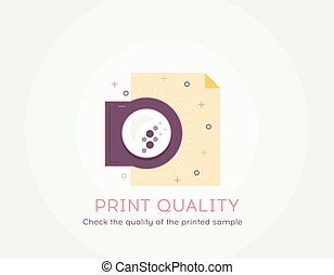 Print quality icon - Thin line flat design of check the quality of the printed sample process.