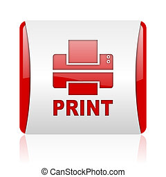 print red and white square web glossy icon
