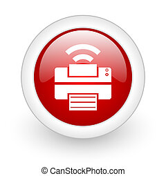 print red circle glossy web icon on white background