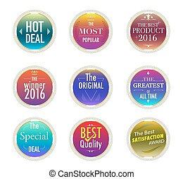 Print - Set of promotion and maketting label. Badge design....