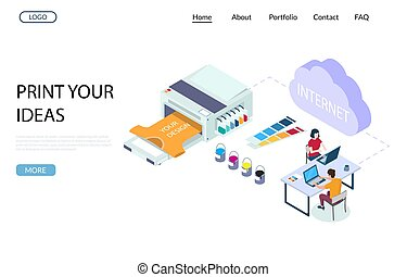 Print shop services vector website template, web page and landing page design for website and mobile site development. Polygraphy online concept with isometric characters and printing equipment.