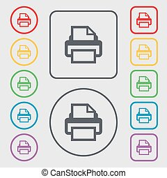 Print sign icon. Printing symbol. Symbols on the Round and square buttons with frame. Vector