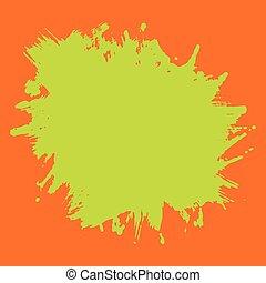 Print Template Green Neon Splash on Orange Background
