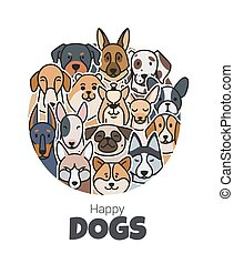 Print - Template postcard for the new year from dogs of...