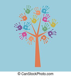 Print the tree and prints of children's hands