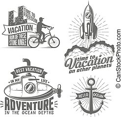 Print - Unusual creative vacation logo with cyclist, rocket...