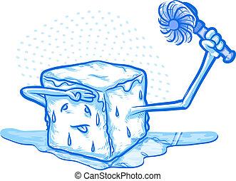 Print - Keep Cool/Ice Melting Cartoon Holding  a Fan