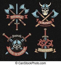 Print - Scandinavian vikings logo set. Emblems with viking...
