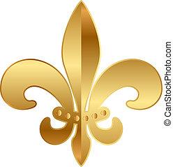 Print - Vector gold Fleur-de-lis ornament