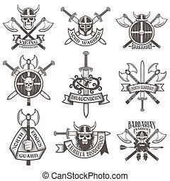Print - Viking logo set. Skull in a horned helmet, the skull...