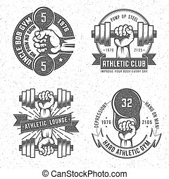 Vintage gym crossfit and fitness club emblems with letterpress or rubber stamp effect. Isolated vector illustration. Background on separate layer.