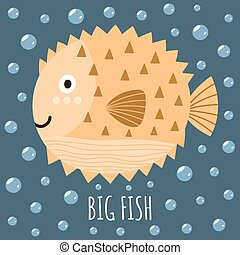 Print with a cute fish and text Big Fish