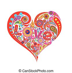 Print with abstract heart shape