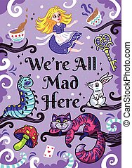 Print with characters from Alice in wonderland