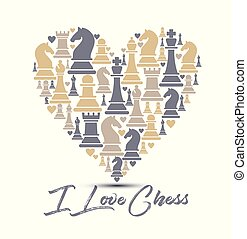 Print with chess pieces of heart. Design I love chess.