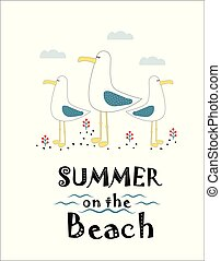 print with seagulls - funny seagulls in a flat style, vector...
