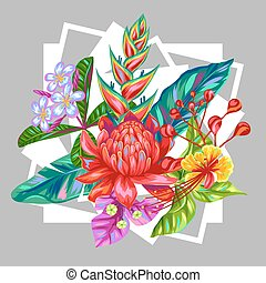 Print with Thailand flowers. Tropical multicolor plants, leaves and buds
