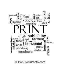 Print Word Cloud Concept in black and white