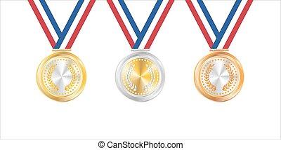 printa, gold, abzeichen, silber, bronze