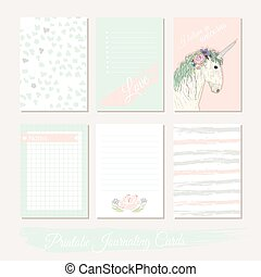 printable, かわいい, filler, セット, カード