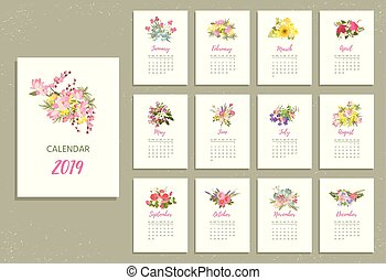 Printable 2019 Calendar with pretty colorful flowers