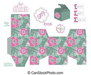 printable, caixa, papoulas, presente, padrão