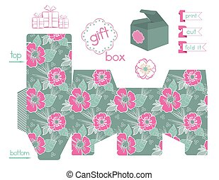 printable, caja, amapolas, regalo, patrón
