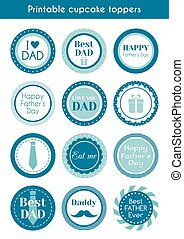 printable, día padre, toppers, cupcake