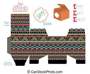 printable, doosje, geometrisch, cadeau, aframmelen