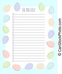 printable, gabarit, oeufs, ordre du jour, paques, listes, ...