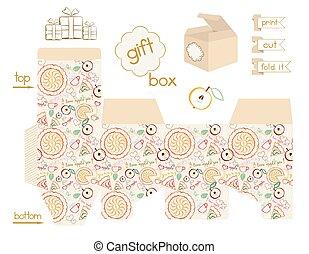 Printable Gift Box Apple Pie Patter