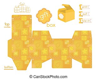 Printable Gift Box Patchwork Patter