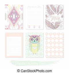 printable, mignon, filler, ensemble, cartes