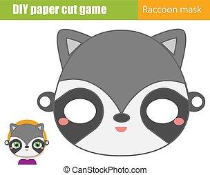 printable, raton laveur, gosses, game., créatif, animal, papier, feuille, faire, enfants, pédagogique, masque, scissors., bricolage, fête