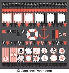 printable, set, di, vendemmia, pirata, festa, elements.