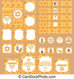 Printable set of Jewish holiday Hanukkah party elements....