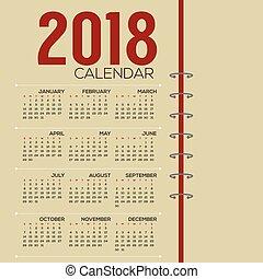 printable, startar, illustration, söndag, vektor, 2018, kalender