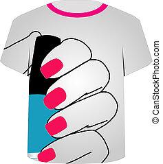Printable tshirt graphic- Painted nails