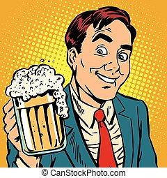 printavatar, schiumogeno, tazza, birra, ritratto, uomo