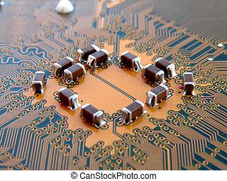 Printed board detail - Computer mother board macro photo...