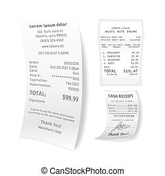 Printed cash receipts vector set isolated on white