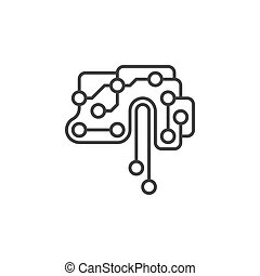 Printed circuit board brain vector icon in thin line style -...