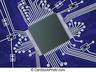 Printed Circuit Board - Vector illustration of a fictive...
