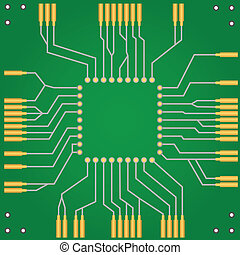 Printed circuit board for central processor unit - Green PCB...