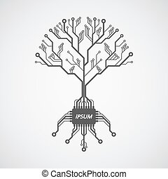 picture of a circuit board pattern infom of a tree with roots formed with chip