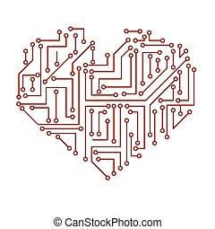 Printed red electrical circuit board heart symbol eps10 vectors ...