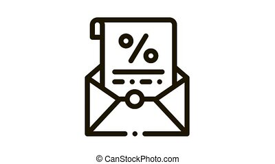Printed Interest Letter Icon Animation. black Printed Interest Letter animated icon on white background