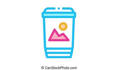 printed paper cup label Icon Animation. color printed paper cup label animated icon on white background